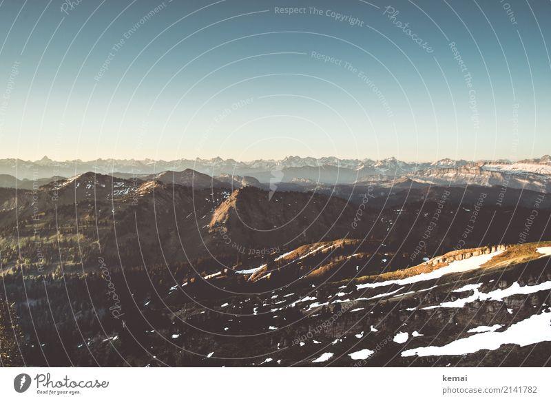 Morgenlicht in den Bergen Natur Ferien & Urlaub & Reisen Sommer schön Landschaft ruhig Ferne Berge u. Gebirge Schnee Freiheit Felsen Ausflug Freizeit & Hobby