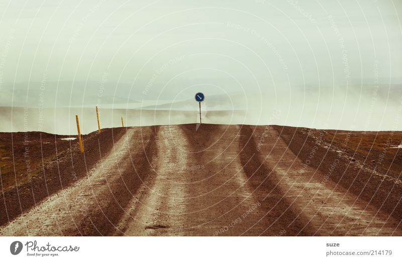 Entscheidung Ferien & Urlaub & Reisen Umwelt Urelemente Erde Himmel Klima Nebel Verkehr Verkehrswege Straßenverkehr Wege & Pfade Verkehrszeichen Verkehrsschild