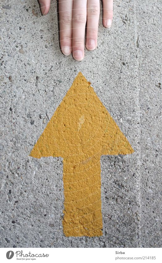 Handzeichen Mensch Hand schön gelb Wand grau Mauer Beton Finger Hinweisschild Spitze Zeichen Bauwerk zart Pfeil dünn