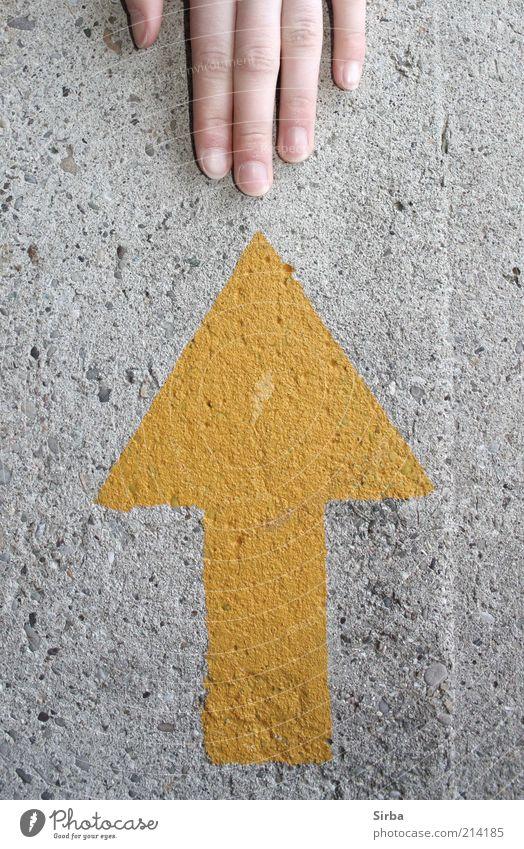 Handzeichen Mensch schön gelb Wand grau Mauer Beton Finger Hinweisschild Spitze Zeichen Bauwerk zart Pfeil dünn