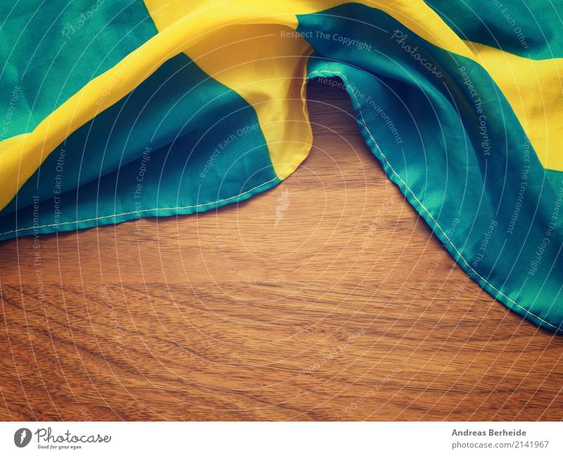 Schwedische Flagge Ferien & Urlaub & Reisen Tourismus Business Nationalitäten u. Ethnien Symbole & Metaphern wooden fabric state patriotism independence