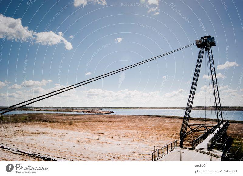 Spielzeug Umwelt Natur Landschaft Luft Wasser Himmel Wolken Horizont Schönes Wetter Seeufer Brücke Sicherheit Beton Metall Idylle Ferne Braunkohlentagebau