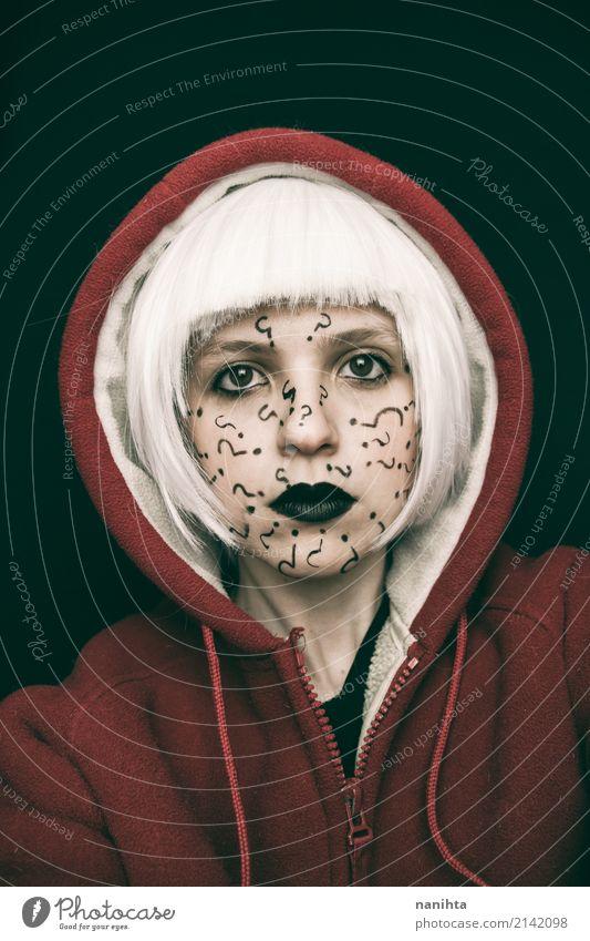 Portrait der Frau mit Fragezeichen in ihrem Gesicht Mensch feminin Junge Frau Jugendliche 1 18-30 Jahre Erwachsene Kunst Künstler Kunstwerk Kultur Jugendkultur