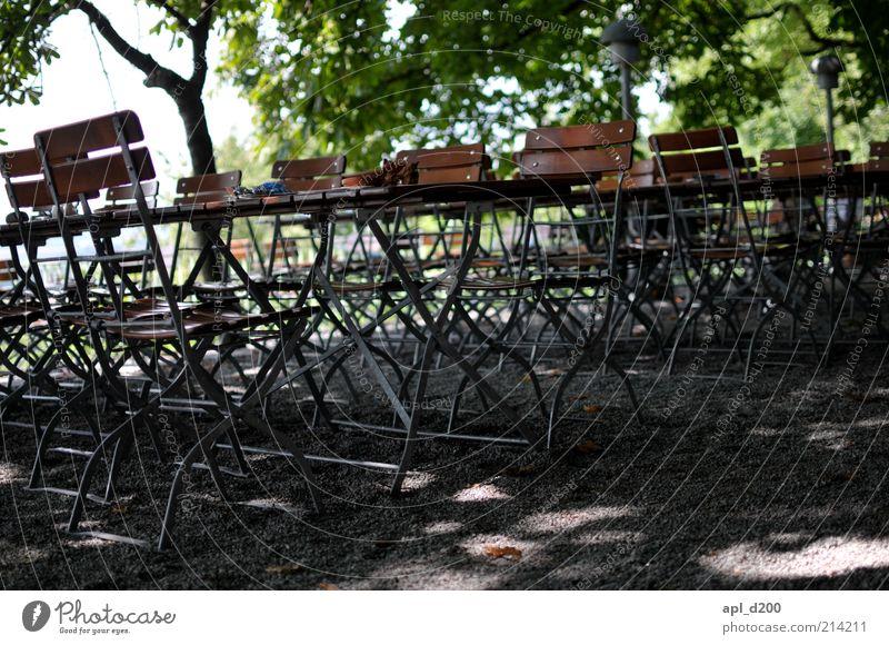 Freie Platzwahl Baum grün Sommer Ferien & Urlaub & Reisen Erholung grau braun Tisch Stuhl authentisch Freizeit & Hobby Gastronomie Restaurant Bayern Kies