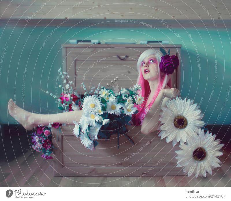 Mensch Jugendliche Junge Frau schön Blume Freude 18-30 Jahre Erwachsene Innenarchitektur feminin Stil Kunst Haare & Frisuren Design träumen Raum