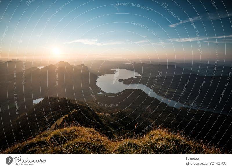felix austria Natur Landschaft Himmel Sonne Sonnenaufgang Sonnenuntergang Sommer Schönes Wetter Gras Alpen Berge u. Gebirge Schafberg See Mondsee blau gold