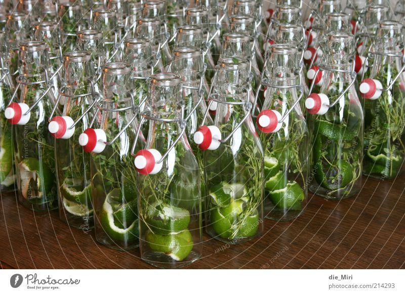 Stillgestanden! Flasche Glas glänzend grün rot Verschlussdeckel Bügelverschluss Limone Thymian Holz einmachen selbstgemacht Farbfoto mehrfarbig Innenaufnahme