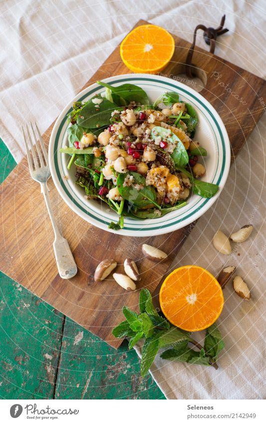 Mittagessen! Lebensmittel Gemüse Salat Salatbeilage Frucht Orange Kräuter & Gewürze Minze Minzeblatt Nüsse Feldsalat Spinat Kichererbsen Granatapfel Ernährung