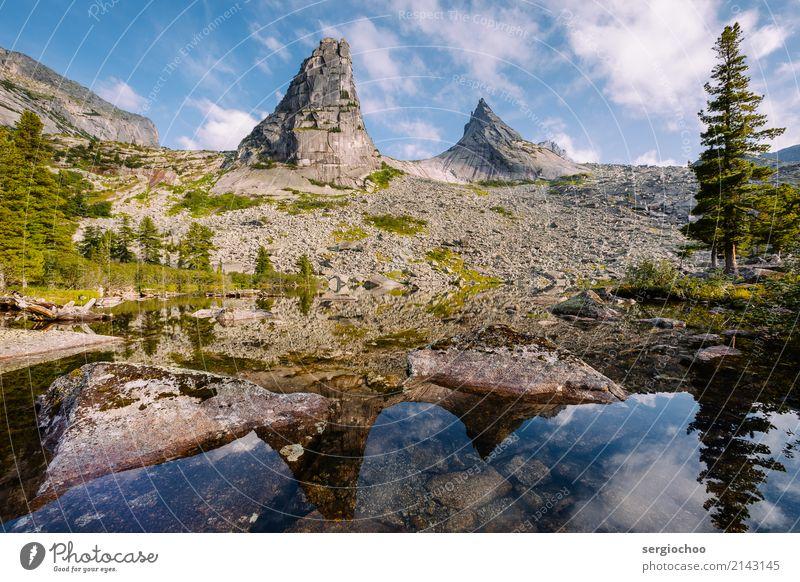 Natur Sommer Wasser Baum Erholung Wolken ruhig Wald Berge u. Gebirge Tourismus Stein See Felsen wandern nachdenklich Abenteuer