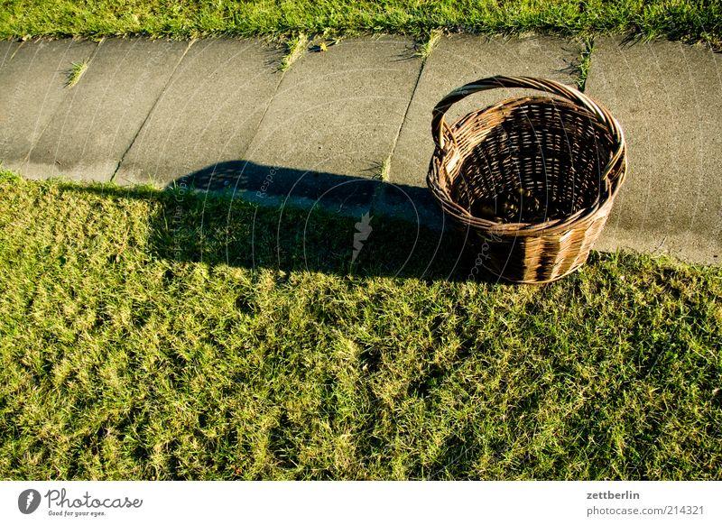 Ernte Natur Nutzpflanze tragen Korb Wege & Pfade voll leer Erntedankfest wenige stehen Garten Gartenweg Kleingartenkolonie Selbstständigkeit Weidenkorb