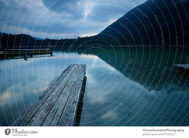 Moody Bergsee Umwelt Natur Landschaft Himmel Wolken Horizont Frühling Sommer Herbst Alpen Berge u. Gebirge Berchtesgadener Alpen Seeufer Hintersee Bundesadler