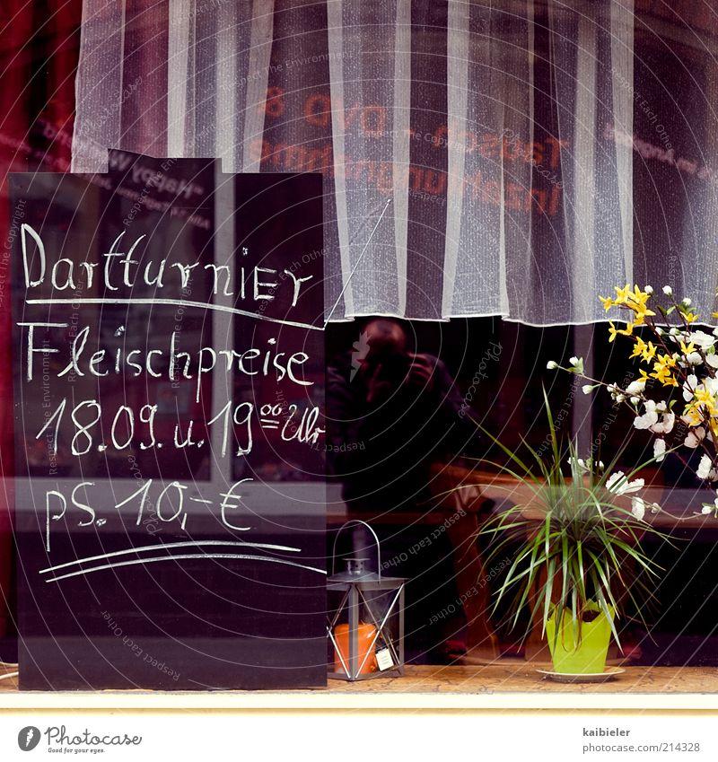 Hauptgewinn Blume rot Fenster Schilder & Markierungen retro Schriftzeichen Kitsch Dekoration & Verzierung Restaurant Tafel Gastronomie Gardine Preisschild Kneipe konventionell