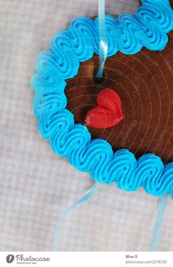 Wiesn-Mitbringsel blau rot Liebe Lebensmittel Gefühle braun Herz Dekoration & Verzierung Geschenk süß Romantik Symbole & Metaphern trocken Süßwaren Jahrmarkt lecker