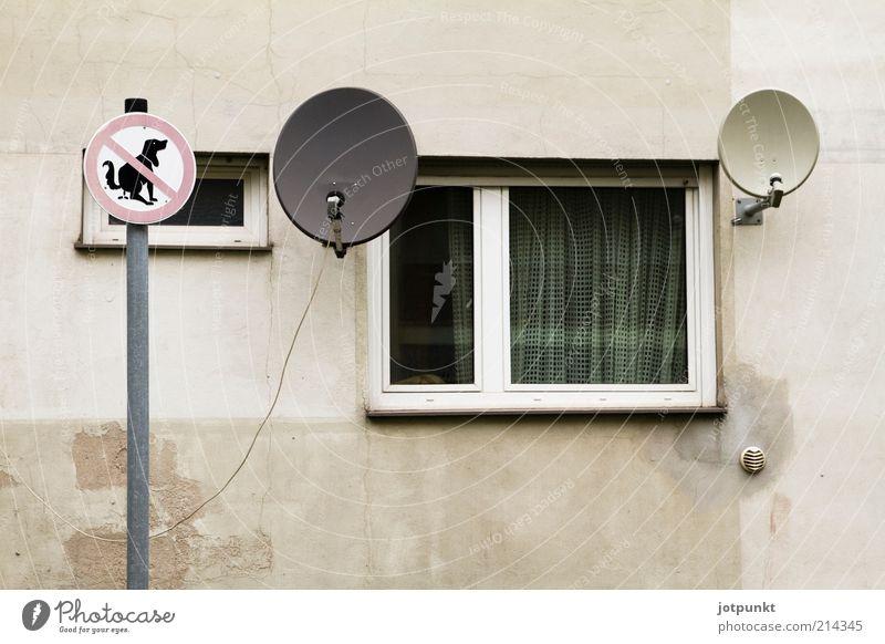 Dreifaltigkeit Stadt Einsamkeit Fenster Wand grau Mauer Metall Glas Fassade Schilder & Markierungen Beton Armut trist Zeichen skurril