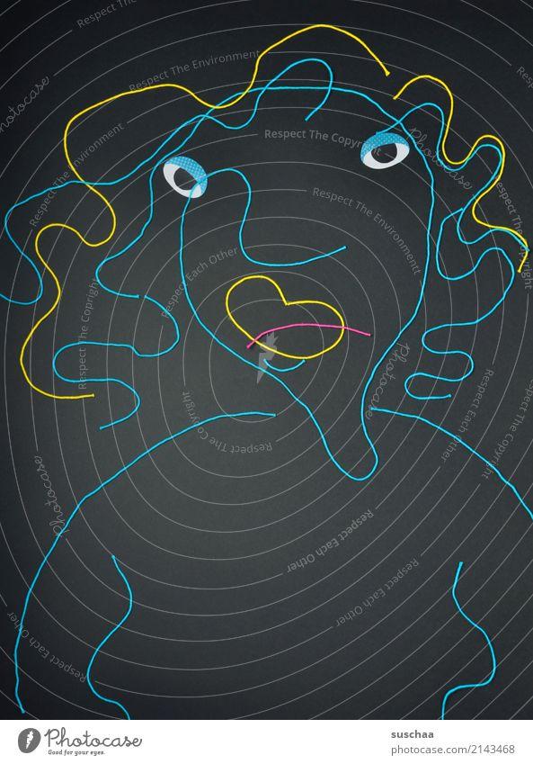 madame verschoben Wolle wollfäden Bild Zeichnung Kunst dunkel mehrfarbig karikatur Auge Frau Schlechte Laune feminin abstrakt abstrahiert Umrisslinie