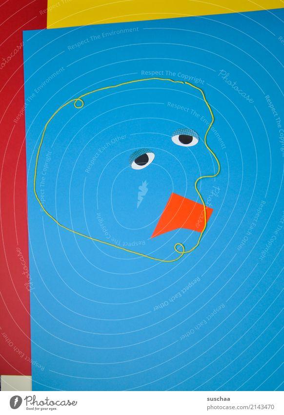 gesicht Gesicht figur Auge Umrisslinie kopfform abstrakt Kunst mehrfarbig Papier Wolle wollfaden zyan rot gelb