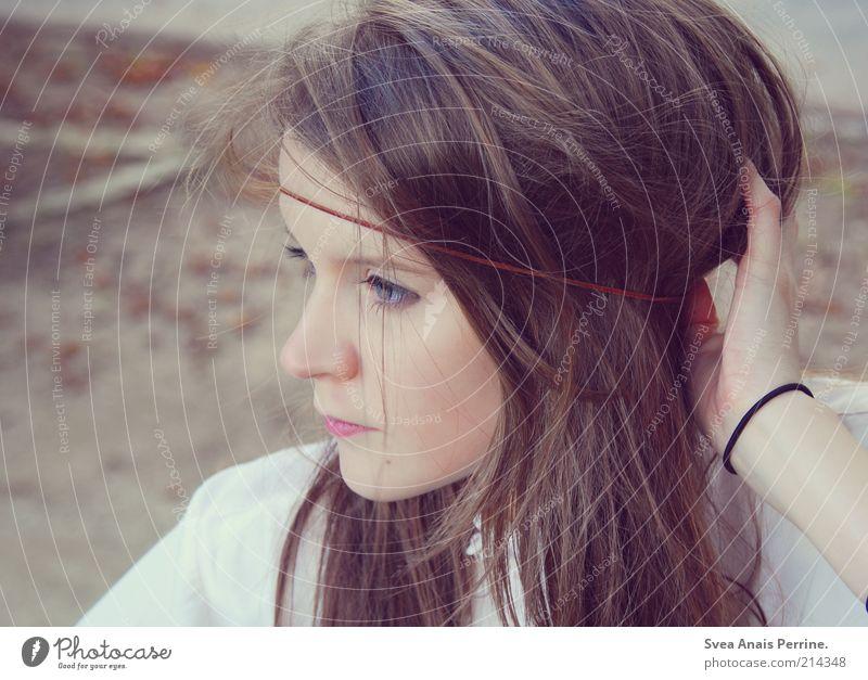 wilder traum. Lifestyle elegant Stil feminin Junge Frau Jugendliche Haut Haare & Frisuren Gesicht 1 Mensch 18-30 Jahre Erwachsene Park brünett langhaarig