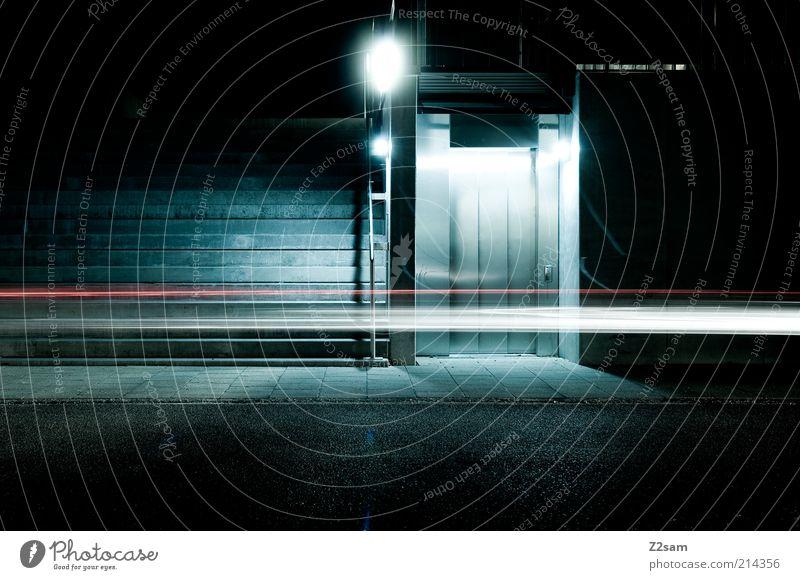 wusch!!!!!!!!!!!!!!!!!!!!!! Haus Treppe Fahrstuhl Verkehr Verkehrswege Straßenverkehr Beton Bewegung ästhetisch dunkel elegant kalt trashig Stadt blau Energie