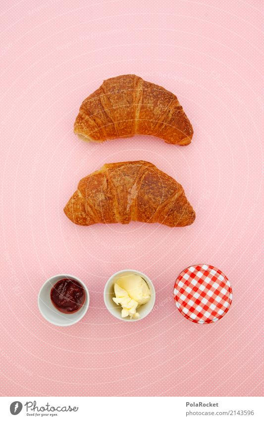 #AS# Frühstück Kunst ästhetisch Kitsch Handel Frühstückstisch Frühstückspause Croissant Marmelade Butter rosa lecker ungesund Farbfoto mehrfarbig Innenaufnahme