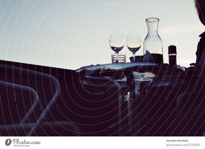 dinner for two. Abendessen Getränk trinken Alkohol Wein Textfreiraum links Textfreiraum oben Schatten Silhouette Gegenlicht Ernährung Glas Weinglas Karaffen