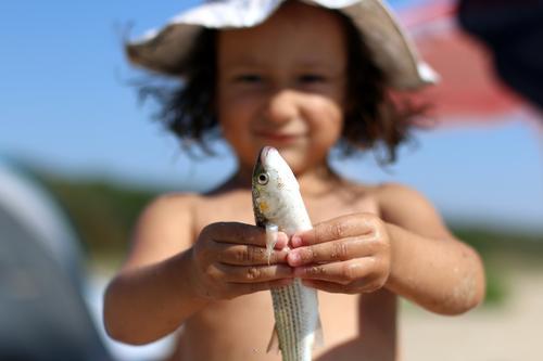 mein Fisch Mensch Kind Ferien & Urlaub & Reisen Hand Freude Leben lustig Gefühle Spielen Freizeit & Hobby Kindheit Fröhlichkeit lernen Kindheitserinnerung