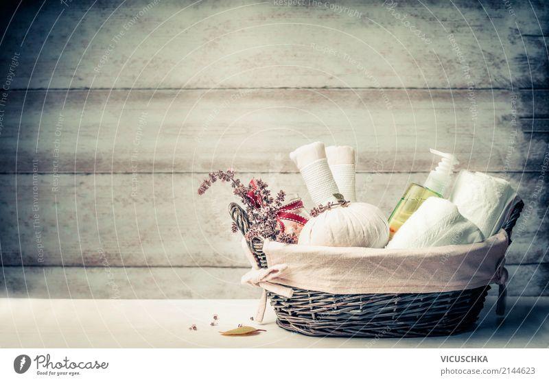 Spa Massage Zubehör in Korb Lifestyle Stil Design schön Körperpflege Gesundheit Wellness Erholung Sauna Ferien & Urlaub & Reisen Wohnzimmer Bad Natur aromatisch