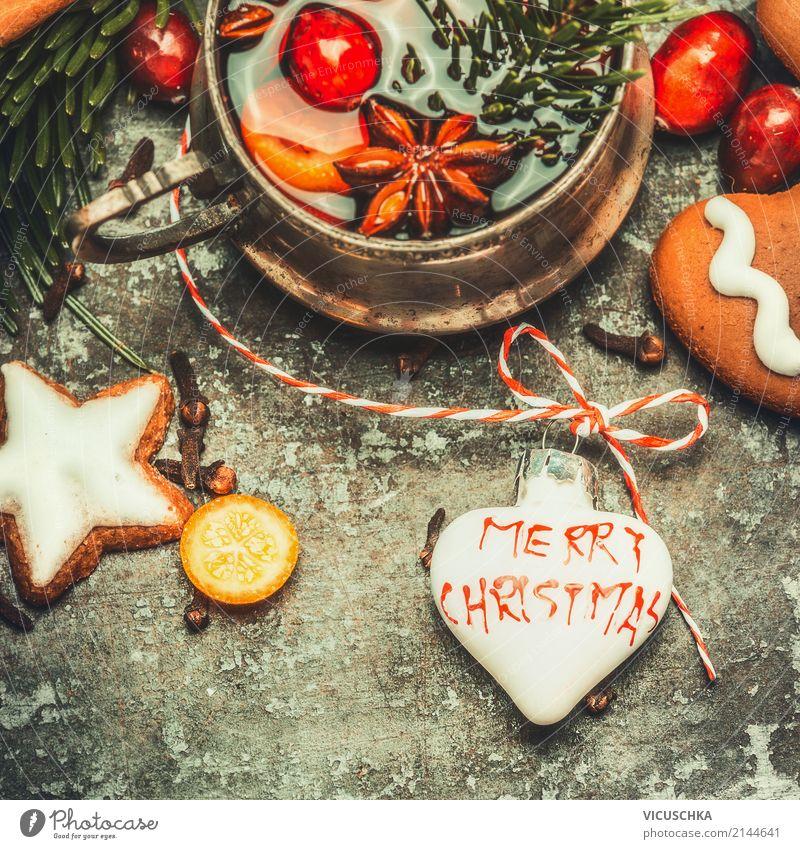Weihnachten Grußkarte mit Glühwein und Plätzchen Süßwaren Ernährung Festessen Getränk Heißgetränk Tasse Stil Design Winter Feste & Feiern Weihnachten & Advent