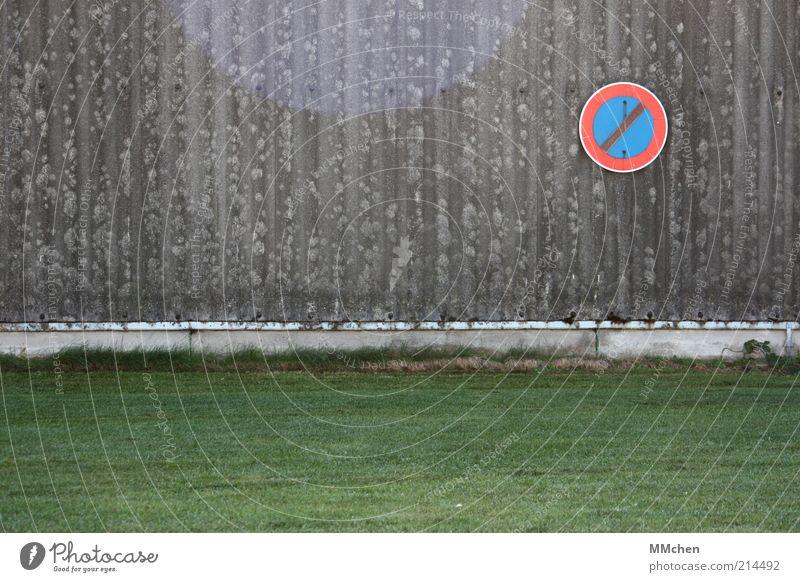 Hier nicht! Wiese Wand Mauer Schilder & Markierungen trist Zeichen festhalten Hinweisschild Autofahren parken Verbote Ärger Verkehrszeichen Textfreiraum links
