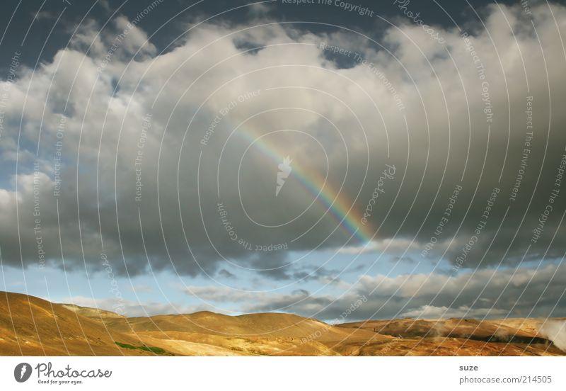 Regenbogen Himmel Natur Ferien & Urlaub & Reisen Sommer Wolken Landschaft Umwelt Berge u. Gebirge Wetter Reisefotografie Erde leuchten Urelemente fantastisch Island Regenbogen
