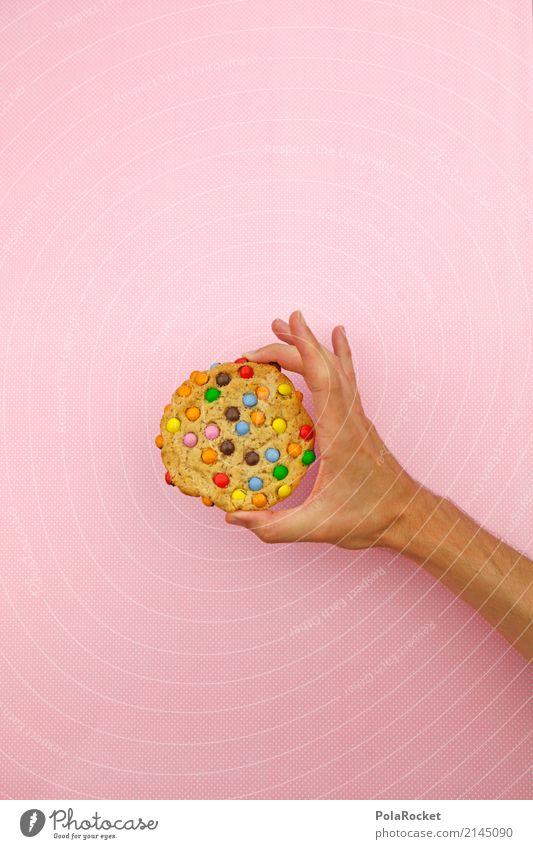#AS# Cookie? Kunst Kunstwerk ästhetisch Süßwaren mehrfarbig Hand festhalten lecker Backwaren rosa Kalorienreich Punkt Diät ungesund Ernährung Farbfoto