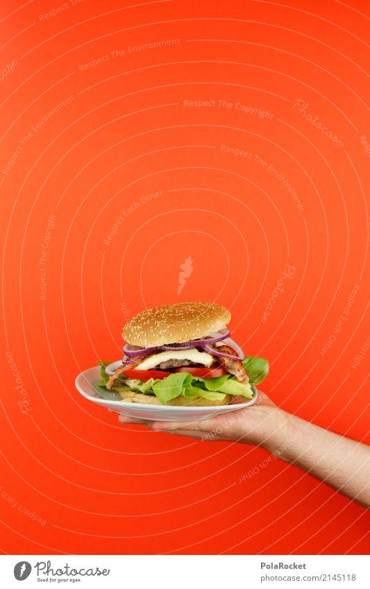 #AS# Burger serviert Kunst Kunstwerk ästhetisch Hamburger Cheeseburger Fastfood Fast Food Restaurant lecker ungesund selbstgemacht festhalten rot Brötchen