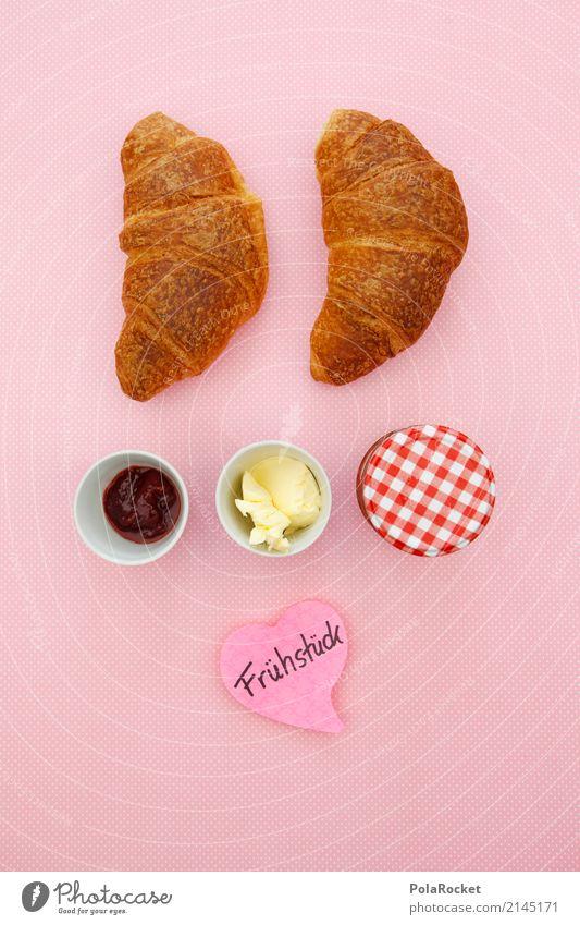 #AS' Frühstück bei... Lifestyle kaufen elegant Stil Design ästhetisch Frühstückstisch Frühstückspause Marmelade Marmeladenglas Butter Croissant rosa lecker