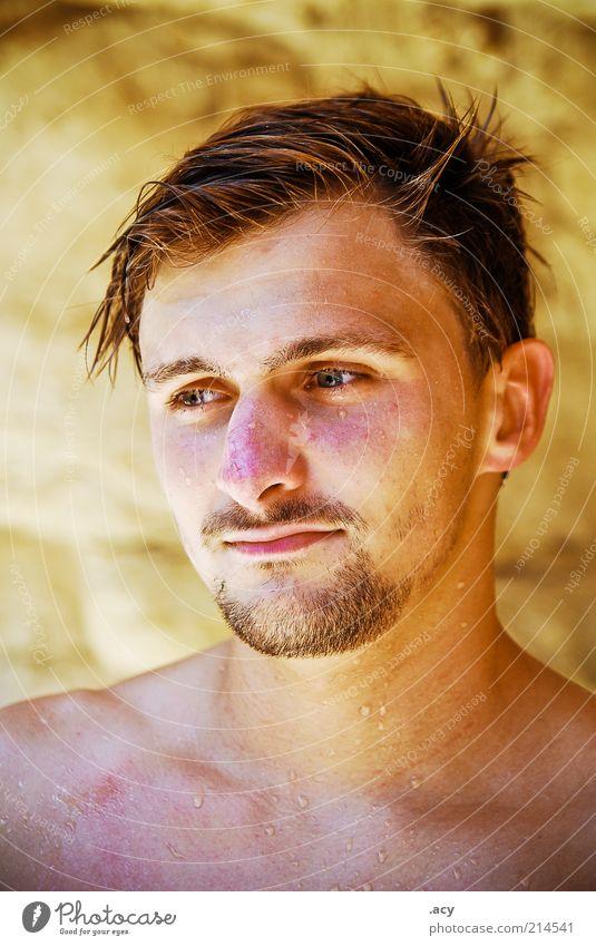 neulich beim baden... Sportler Mensch maskulin Homosexualität Junger Mann Jugendliche Kopf 1 18-30 Jahre Erwachsene Natur Wassertropfen brünett kurzhaarig