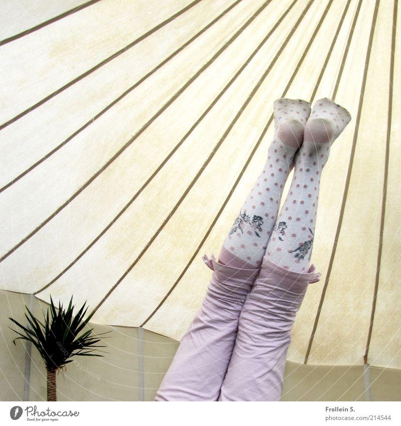 oops Mensch Kind Mädchen Freude Leben lustig Beine Fuß rosa Zufriedenheit Kindheit verrückt Fröhlichkeit Streifen Lebensfreude Hose