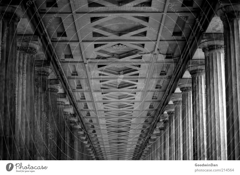 endlos. Altstadt Menschenleer Bauwerk Architektur Decke Säule alt außergewöhnlich historisch schön Gefühle Stimmung ruhig Schwarzweißfoto Außenaufnahme Tag