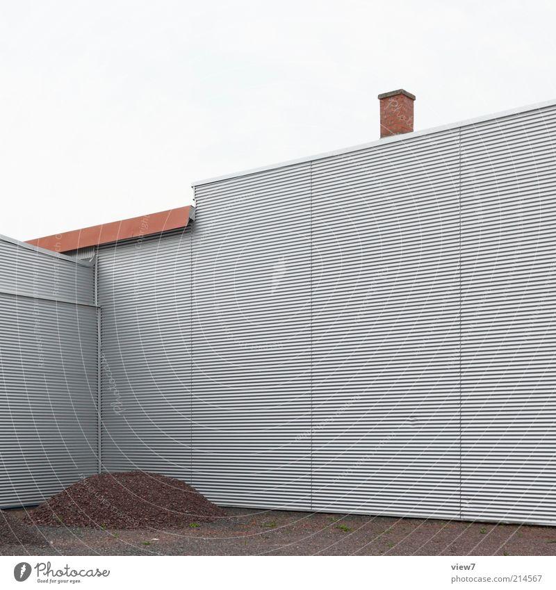Moiré ruhig Haus Einsamkeit Wand Mauer Linie Metall elegant Fassade Perspektive modern Ordnung neu authentisch einfach Baustelle