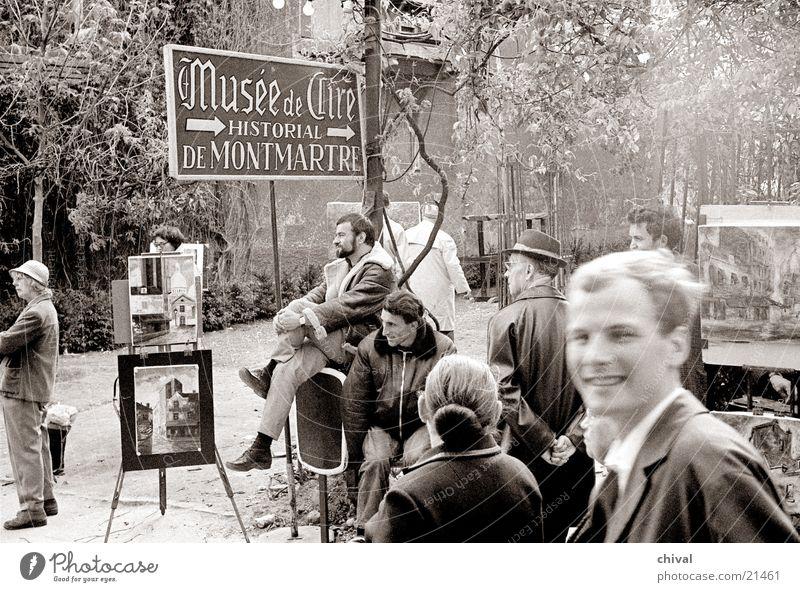 Malerecke Paris Montmartre Tourist Fußgänger Publikum Ausstellung Europa Anstreicher Staffage
