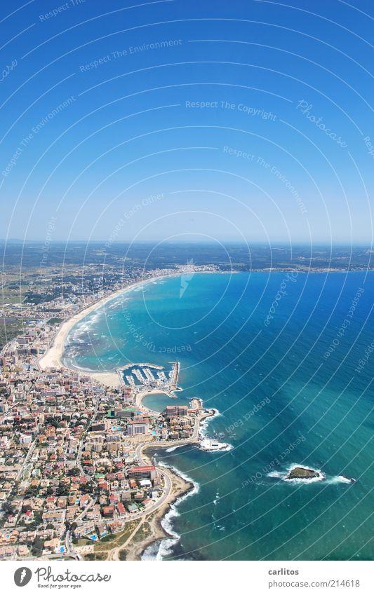Ballermann Stadt blau Sommer Strand Ferien & Urlaub & Reisen Haus Küste Aussicht Hafen Bucht Schönes Wetter Mallorca mediterran Ankunft Mittelmeer Spanien