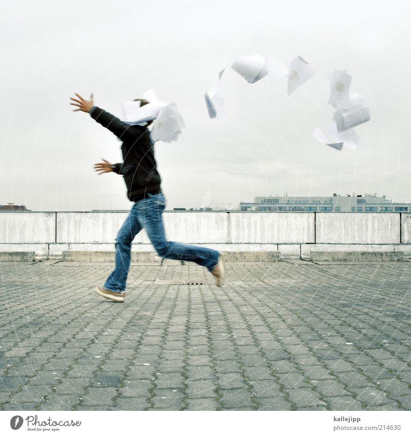 herbststurm Mensch Mann Erwachsene Leben Bewegung Schule Arbeit & Erwerbstätigkeit Wind maskulin Geschwindigkeit lernen Studium Papier Bildung Student Beruf