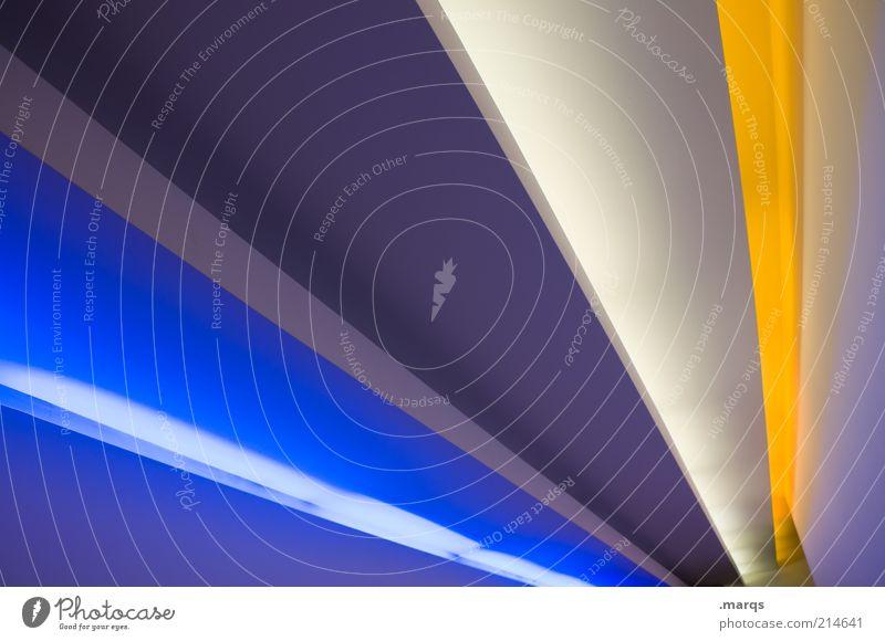 Futur Design Innenarchitektur Architektur Linie Streifen außergewöhnlich trendy modern neu blau gelb weiß ästhetisch elegant Farbe rein Zukunft Textfreiraum