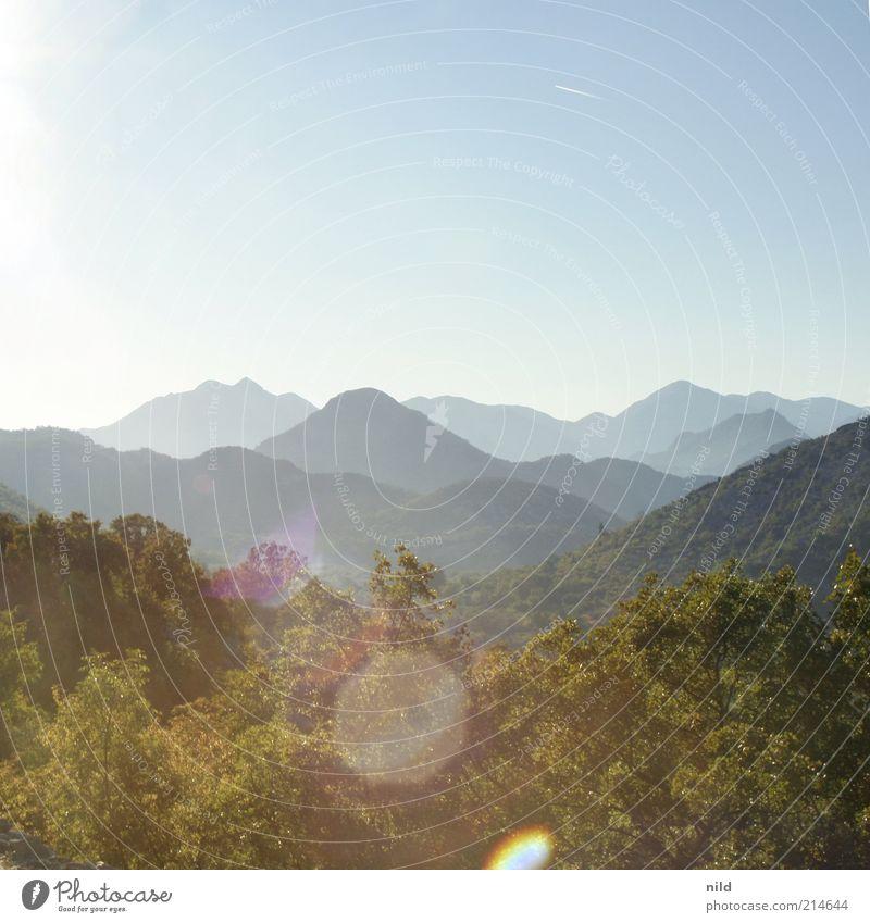 Schwarze Berge Ferien & Urlaub & Reisen Tourismus Abenteuer Freiheit Sommer Sommerurlaub Umwelt Natur Landschaft Wolkenloser Himmel Schönes Wetter Sträucher