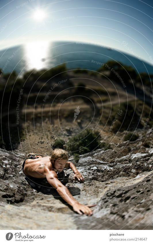 Climb! Lifestyle Freizeit & Hobby Sport Klettern Bergsteigen Sportler maskulin Natur Wasser Himmel Sonne Sonnenaufgang Sonnenuntergang Sommer Felsen Küste Meer