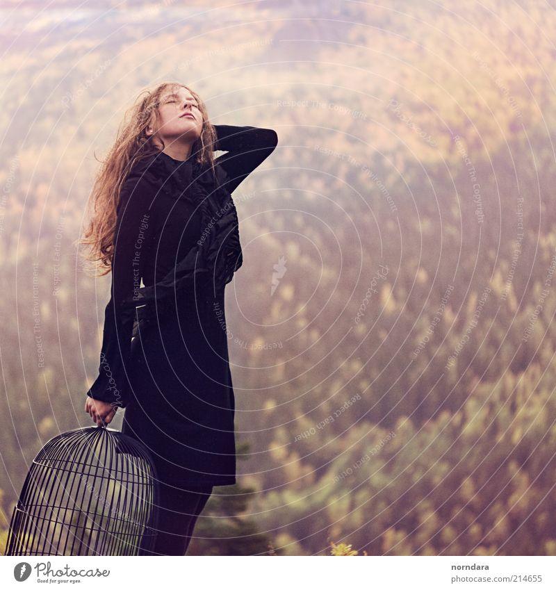 auf den Wind hören Freude Mensch feminin 1 18-30 Jahre Jugendliche Erwachsene Natur Landschaft Pflanze Erde Sonnenaufgang Sonnenuntergang Herbst Schönes Wetter