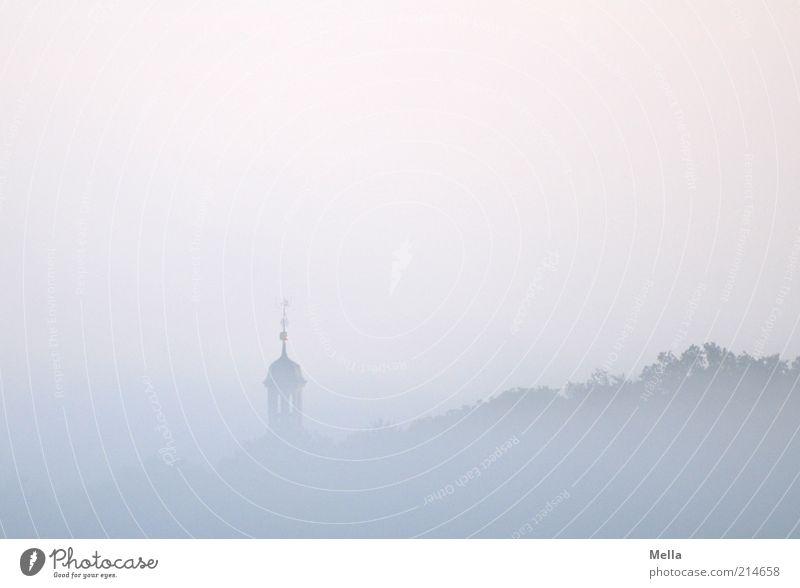 700 - Frühaufsteher Natur Himmel blau ruhig Wald kalt Landschaft Stimmung Religion & Glaube rosa Nebel Wetter Umwelt frisch Kirche Dach