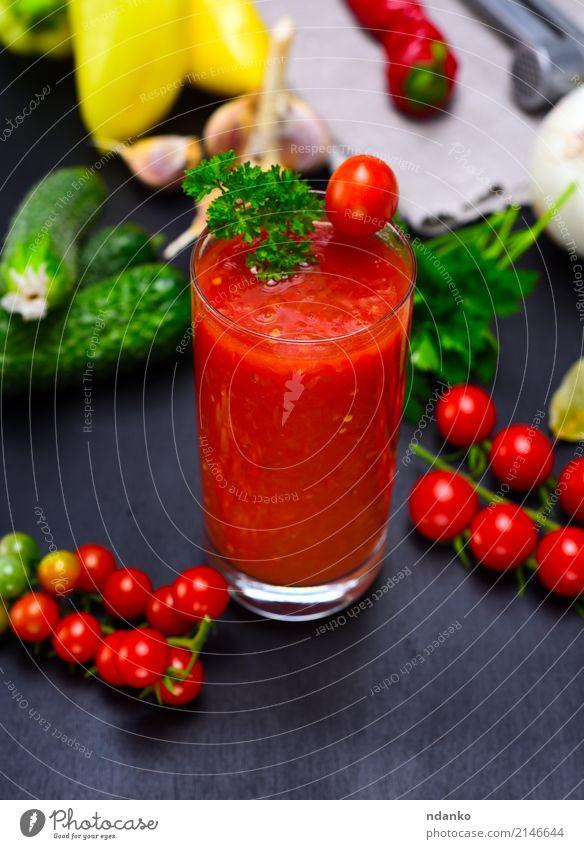 Frisch gemachter Saft von der roten Tomate Gemüse Kräuter & Gewürze Vegetarische Ernährung Diät Glas Küche Holz frisch grün schwarz Kirsche Paprika Hintergrund