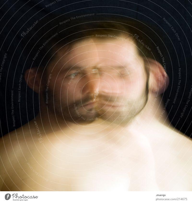 Disunion Mensch Mann Erwachsene Kopf Bart 18-30 Jahre Jugendliche 30-45 Jahre Blick träumen außergewöhnlich verrückt Gefühle Stimmung Traurigkeit Schmerz
