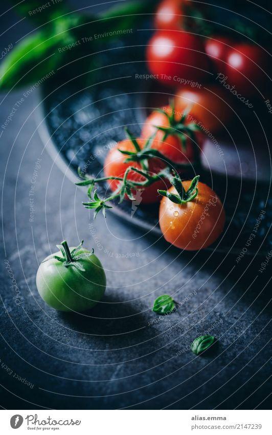 Frische Tomaten Gemüse rot grün reif unreif Ernte Gesundheit Gesunde Ernährung Essen Foodfotografie aromatisch lecker dunkel mystisch Stillleben Licht Schatten