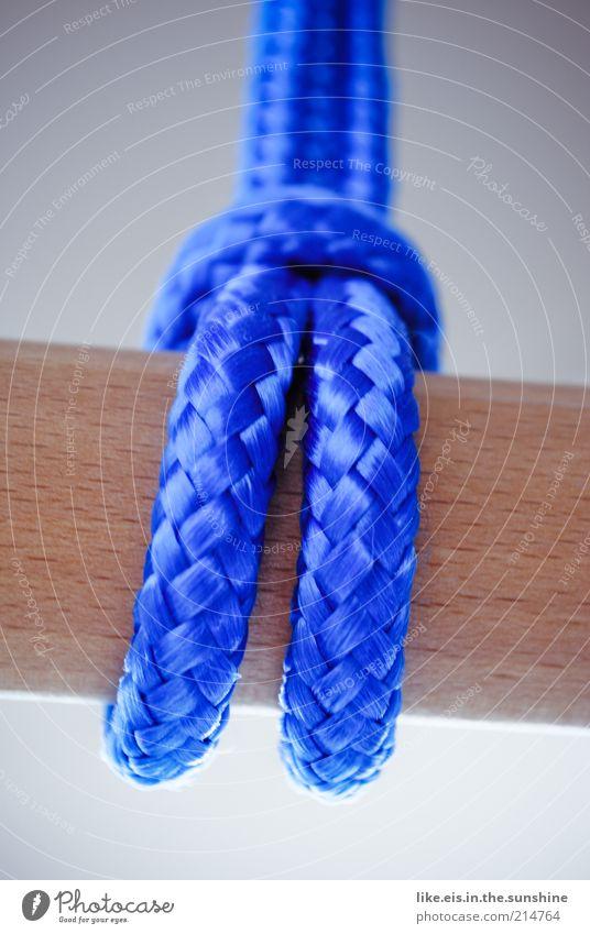 Am seidenen Faden... Holz fest Seil Schnur Schlaufe Stock Stab Holzstab blau stark geflochten Sicherheit Farbfoto Außenaufnahme Nahaufnahme Detailaufnahme