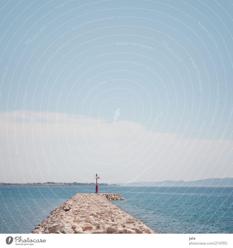 am meer sein. Himmel Meer Sommer Ferien & Urlaub & Reisen Ferne Stein hell Küste Hügel Steg Blauer Himmel Sommerurlaub Kroatien
