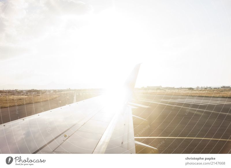 Ab in den Urlaub hell Verkehr Luftverkehr Flugzeug Flughafen Verkehrsmittel Landebahn Flugplatz Passagierflugzeug im Flugzeug